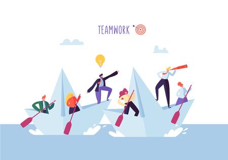 Gente de negocios flotando en un barco de papel. Personajes planos con catalejo navegando en barcos. Concepto de liderazgo y trabajo en equipo. Ilustración vectorial