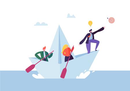 Gente di affari che galleggia su una nave di carta Personaggi piatti con cannocchiale a vela su barche. Lavoro di squadra e concetto di leadership. Illustrazione vettoriale