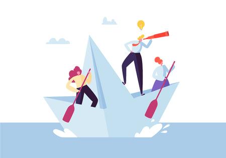 Gens d'affaires flottant sur un bateau en papier. Personnages plats avec Spyglass naviguant sur des bateaux. Concept de travail d'équipe et de leadership. Illustration vectorielle Vecteurs