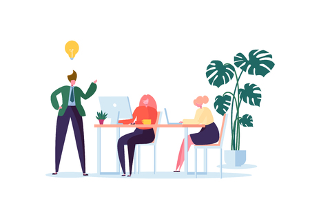 Office Workers Working with Computers. Flat Business People Characters with Laptop. Team Work Organization Process Concept. Vector illustration