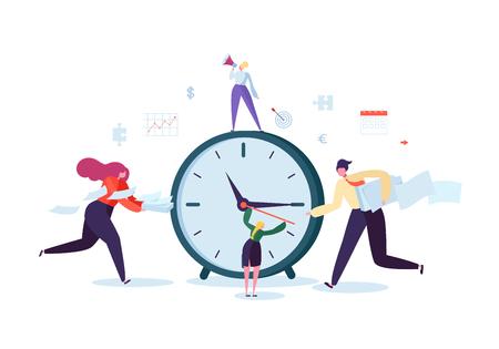 Concepto de gestión del tiempo. Proceso de organización de personajes planos. Gente de negocios trabajando juntos en equipo. Ilustración vectorial