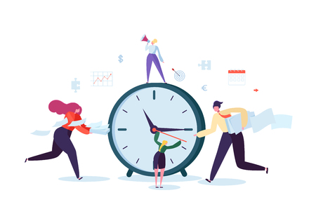 Time Management Concept. Flat Characters Organization Process. Business People Working Together Team Work. Vector illustration Vettoriali