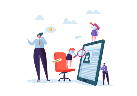Business People Hiring New Staff. Office chair with vacancy sign. Head Hunters. Flat Characters are Examining a Resume. Recruitment Agency. Vector illustration