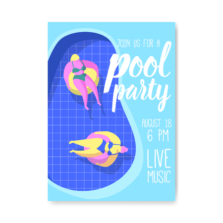 Pool Party Poster, Banner, Invitation. Summer Brochure with Floats in Water. Flyer Template Beach Party. Vector illustration