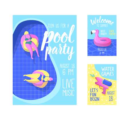 Pool Party Poster, Banner, Invitation. Summer Brochure with Inflatable Pink Flamingo, Floats in Water. Flyer Template Beach Party. Vector illustration Çizim