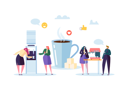 Office Lunch Time. Business People Characters on Coffee Break. Employees Talking, Resting and Drinking Hot Drinks. Vector illustration Banque d'images - 109885125