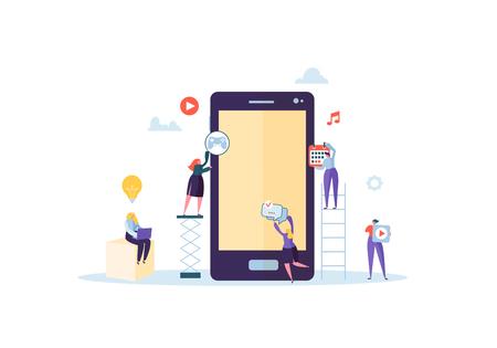 Personajes de personas planas que construyen aplicaciones móviles con iconos en la pantalla del teléfono inteligente. Concepto de desarrollo de estructura metálica. Ilustración vectorial Ilustración de vector