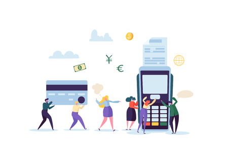 Credit Card Payment by Terminal Concept with Flat People. Financial Transaction with Characters and Money. Vector illustration Illustration