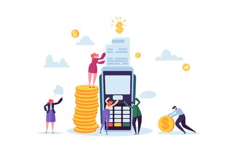 Pago con tarjeta de crédito por concepto de terminal con personas planas. Transacción financiera con personajes y dinero. Ilustración vectorial
