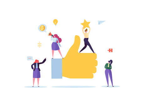 Gran mano con pulgar hacia arriba y personajes de personas planas de trabajo. Concepto de éxito empresarial de trabajo en equipo. Ilustración vectorial