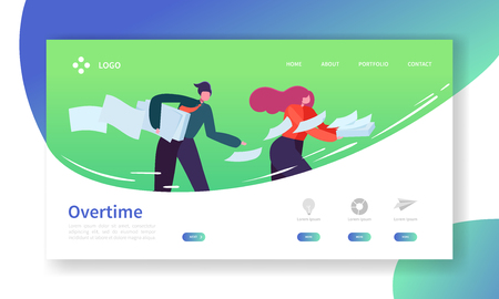 Time Management Landing Page Template. Overtime Website Layout with Flat People Characters Rushing. Easy to Edit and Customize Mobile Web Site. Vector illustration