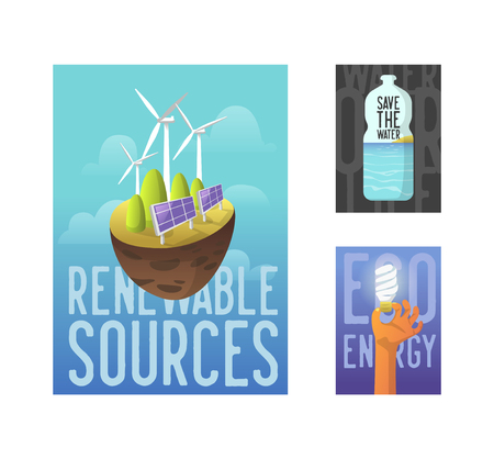 Sustainable Energy Sources, Green Technology, Environment Concept. Solar Battery, Wind Energy. Ecology Banner, Poster, Flyer. Vector illustration
