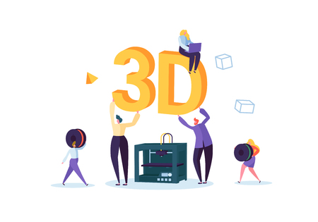 3D Printing Technology Concept. 3D Printer Equipment with Flat People Characters and Computer. Engineering and Prototyping Industry. Vector illustration Illustration