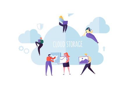 Cloud Storage Technology. Man and Woman Working Together Sharing Data Information Transfer Folders. Vector illustration Çizim