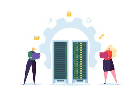 Concepto de tecnología de centro de datos. Ingenieros de personajes de personas planas que trabajan en la sala de servidores de red. Administrador de alojamiento web. Ilustración vectorial