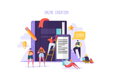 Online Education Concept. E-Learning with Flat People Reading Books. Graduation University College Characters. Teaching Course Seminar Students. Vector illustration Stock fotó - 109675407
