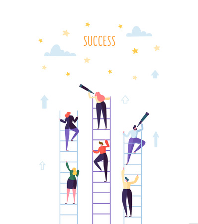 Business People Climbing on Ladder to Success. Competition Career Achieving the Goal Concept. Vector illustration Illustration