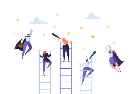 Business People Climbing on Ladder to Success. Competition Career Achieving the Goal Concept. Businessman and Businesswoman Flying to Stars. Vector illustration Illustration