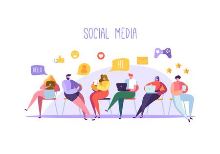 Concepto de redes sociales con personajes charlando sobre gadgets. Grupo de personas planas que utilizan dispositivos móviles. Blogging y redes sociales de hombre y mujer. Ilustración vectorial