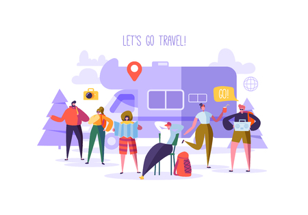 Happy Characters on Vacation. Travel on Car Concept with Flat People Travelers. Man and Woman Traveling. Tourists with Map and Backpack. Vector illustration Stockfoto - 109675423