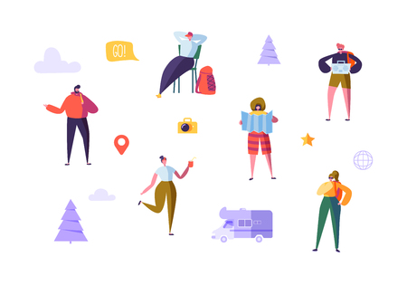 Happy Characters on Vacation. Travel on Car Concept with Flat People Travelers. Man and Woman Traveling. Tourists with Map and Backpack. Vector illustration