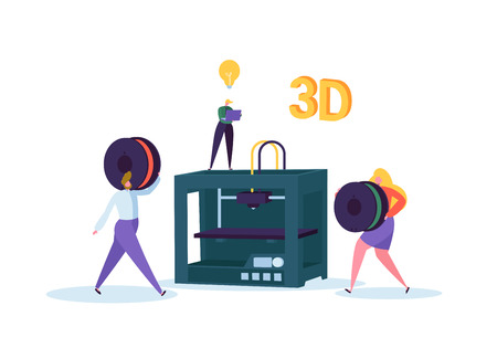 3D Printing Technology Concept. 3D Printer Equipment with Flat People Characters and Computer. Engineering and Prototyping Industry. Vector illustration 向量圖像