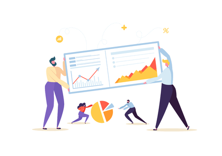 Big Data Analysis Strategy Concept. Marketing Analytics with Business People Characters Working Together with Diagrams and Graphs. Vector illustration Stock Illustratie