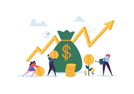 Concepto financiero de inversión. Gente de negocios aumentando el capital y las ganancias. Riqueza y ahorro con personajes. Ganancias de dinero. Ilustración vectorial
