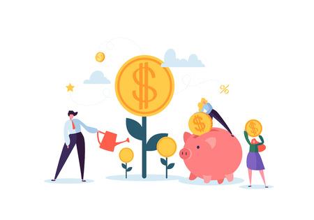 Investeringen Financieel Concept. Mensen uit het bedrijfsleven vergroten van kapitaal en winst. Rijkdom en besparingen met karakters. Geld verdienen. Vector illustratie Vector Illustratie