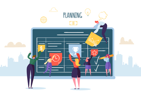 Planning Schedule Concept with Business Characters Working with Planner. Team Work Together. Flat People Teamworking with Timetable. Vector illustration Banque d'images - 123178604