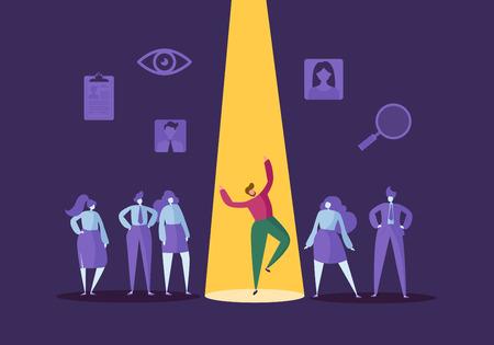 Concepto de contratación empresarial con personajes planos. Empleador que elige a un hombre de un grupo de personas. Contratación, Recursos Humanos, Entrevista de trabajo. Ilustración vectorial Ilustración de vector