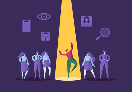 Recruitment bedrijfsconcept met platte karakters. Werkgever kiest één man uit een groep mensen. Aanwerving, personeelszaken, sollicitatiegesprek. Vector illustratie Stockfoto - 109246983