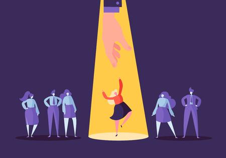 Concepto de contratación empresarial con personajes planos. Empleador que elige a una mujer de un grupo de personas. Contratación, Recursos Humanos, Entrevista de trabajo. Ilustración vectorial