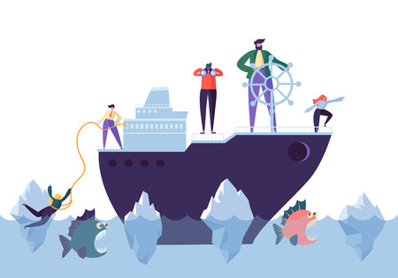 Gente de negocios flotando en el barco en el agua peligrosa con tiburones. Liderazgo, apoyo, carácter de administrador de crisis, concepto de trabajo en equipo. Ilustración vectorial