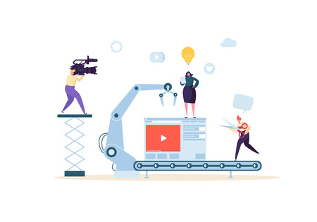 Making Movie, Video Production Concept. Television Operator with Camcorder. Videography, Characters Shooting Film, Motion Picture Camera. Vector illustration