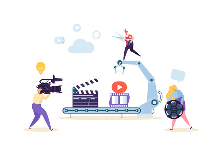 Making Movie, Video Production Concept. Television Operator with Camcorder. Videography, Characters Shooting Film, Motion Picture Camera. Vector illustration Imagens - 109717133