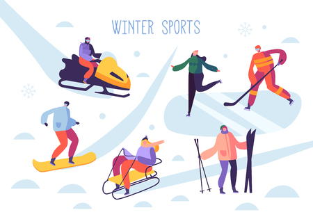 Winter Sport Activities with Characters. People Outdoor Skier, Snowboarder, Ice Skater, Hockey. Vector illustration