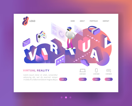 Virtual Reality Isometric Concept. Augmented Reality Landing Page Template with Glasses and Character. Website Layout. Easy Edit and Customize. Vector illustration