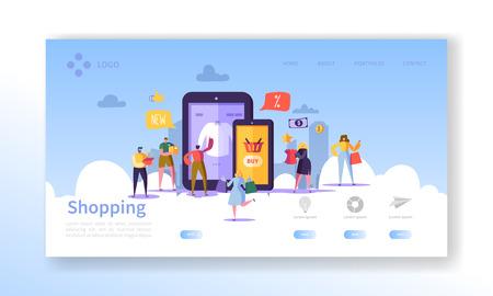 Bestemmingspagina voor online winkelen. Platte mensen tekens met boodschappentassen Website sjabloon. Gemakkelijk te bewerken en aan te passen. Vector illustratie