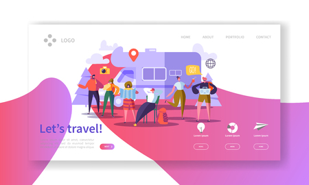 Tourism and Travel Industry Landing Page. Summer Traveling Holiday Vacation with Flat People Characters Website Template. Vector illustration Banque d'images - 123178621