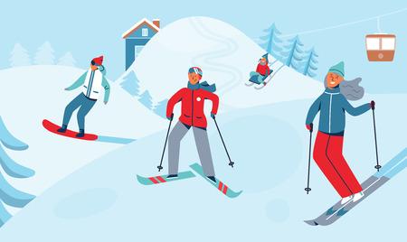Vacances d'hiver Loisirs Sport Activité. Paysage de station de ski avec des personnages de ski et de snowboard. Gens heureux à cheval sur Snowy Downhill. Illustration vectorielle Vecteurs