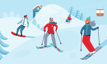 Winter Holidays Recreation Sport Activity. Ski Resort Landscape with Characters Skiing and Snowboarding. Happy People Riding on Snowy Downhill. Vector illustration Vettoriali