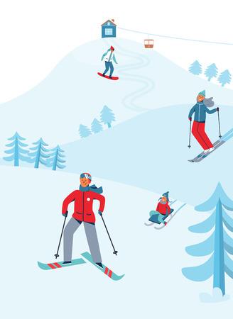 Ferie Zimowe Rekreacja Aktywność Sportowa. Krajobraz ośrodka narciarskiego z postaciami na nartach i snowboardzie. Szczęśliwi ludzie jadący na Snowy Downhill. Ilustracja wektorowa