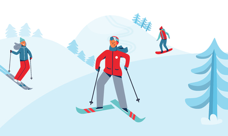 Winter Holidays Recreation Sport Activity. Ski Resort Landscape with Characters Skiing and Snowboarding. Happy People Riding on Snowy Downhill. Vector illustration Illustration