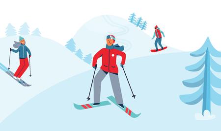 Vacaciones de invierno Recreación Actividad deportiva. Paisaje de la estación de esquí con personajes de esquí y snowboard. Gente feliz montando en nevado cuesta abajo. Ilustración vectorial
