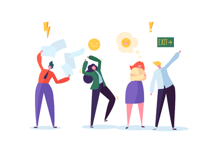 Group of Aggressive People. Characters Making Loud Scandal Quarrel and Yell. Angry Man and Woman. Violent Bahavior Concept. Vector illustration