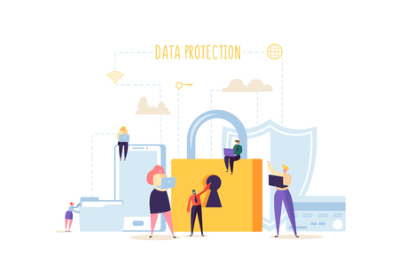 Data Protection Privacy Concept. Confidential and Safe Internet Technologies with Characters Using Computers and Mobile Gadgets. Network Security. Vector illustration Vettoriali