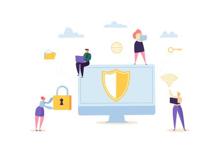 Datenschutz Datenschutzkonzept. Vertrauliche und sichere Internettechnologien mit Charakteren, die Computer und mobile Geräte verwenden. Netzwerksicherheit. Vektor-Illustration