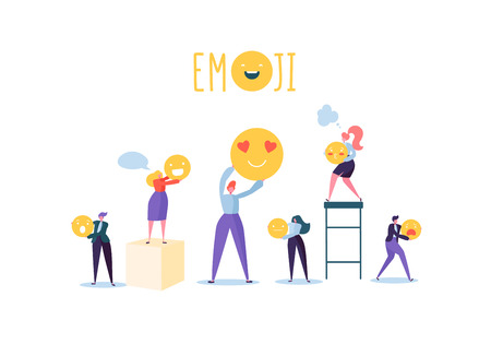 Characters People Holding Various Emoticons. Emoji and Smiles Communication Concept with Man and Woman. Vector illustration