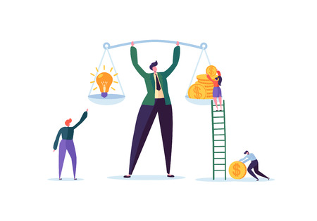 Business Idea and Money Concept. Businessman Holding Weights with Light Bulb and Golden Coins. Investment Management with Characters. Vector illustration Standard-Bild - 109717639
